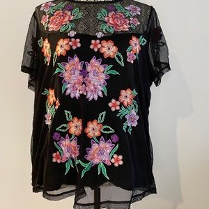 INC International Concepts Mesh Embroidered Top